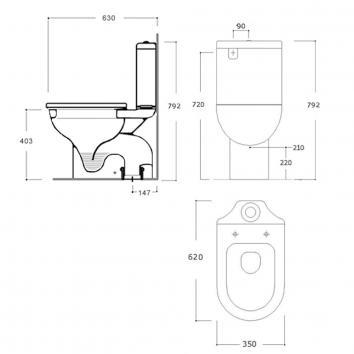 ARGENT2410 KO080101S4BB Argent Close Coupled Toilets Spec sheet