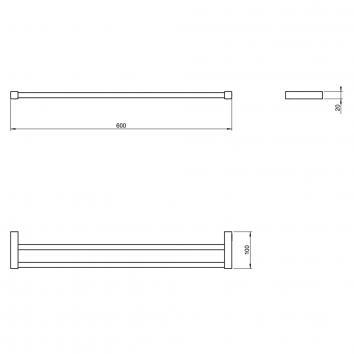 ARGENT4265 38.14.42.002 Pomd'or Double Towel Rail Accessories Spec sheet