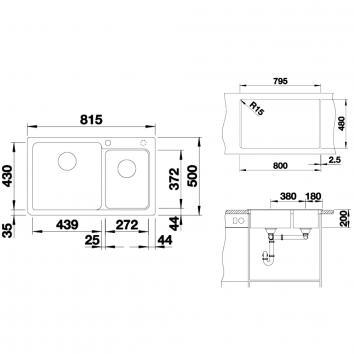 BLANCO4105 NAYA8K5 Blanco Overmount Sinks Spec sheet