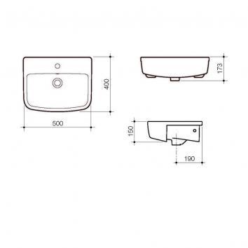 CAROMA3320 867215W Caroma  Basins Spec sheet