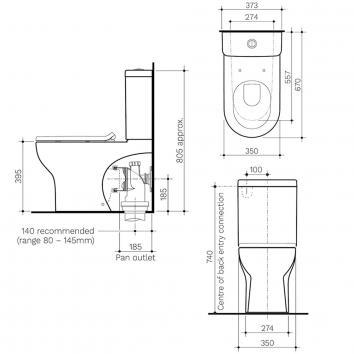 CLARK6402 CL30010.W4S Clark Back to Wall Toilets Spec sheet