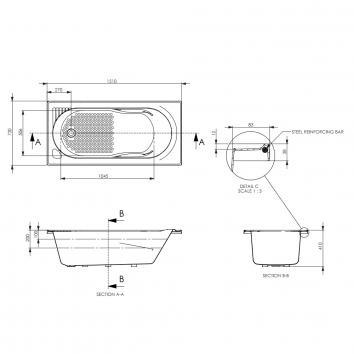 DECINA5180 BA1510W Decina Baths Rectangular Baths Spec sheet