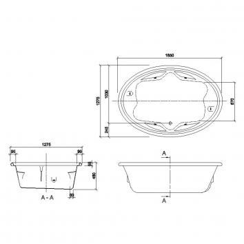 DECINA5636 DU1850CNSPAWC Decina Baths Whirlpools / Spas Baths Spec sheet