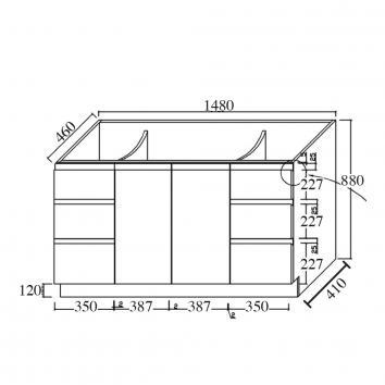FIENZA16300 TCL 1500D-150C Fienza Floor Mounted Vanities Furniture Spec sheet