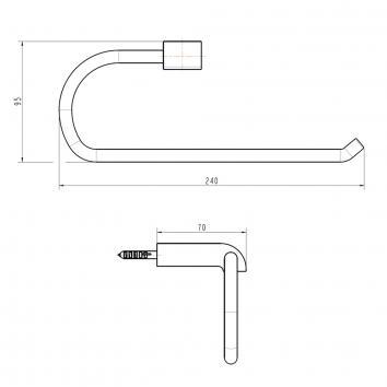 GARETH1130 LTR Abey Hand Towel Ring / Rail Accessories Spec sheet