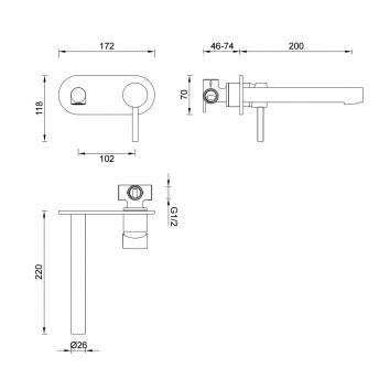 GARETH1810 3B-WS-B Abey Mixers Tapware Spec sheet