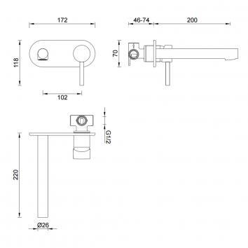 GARETH1845 3BT-WS Abey Mixers Tapware Spec sheet