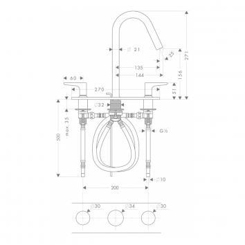 HANSGROHE2460 34134000 Hansgrohe Mixers Tapware Spec sheet