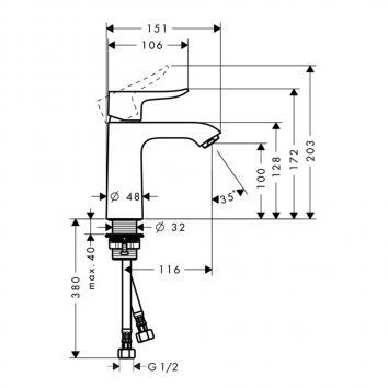 HANSGROHE2800 31084003 Hansgrohe Mixers Tapware Spec sheet