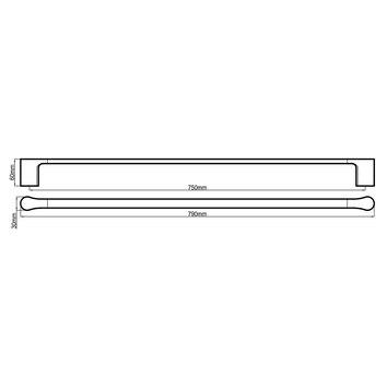 HARMACC10270 BA21025-W Harmony Single Towel Rail Accessories Spec sheet