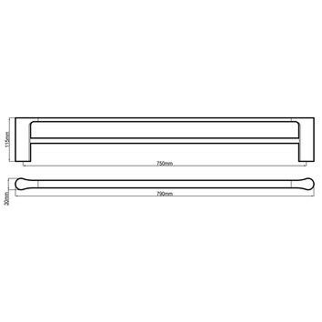 HARMACC10295 BA21023-B Harmony Double Towel Rail Accessories Spec sheet
