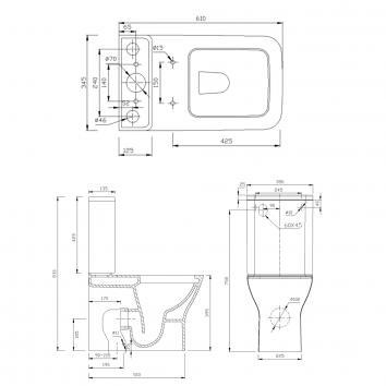 HARMONY10700 W125BR/T125D/S1 Harmony Back to Wall Toilets Spec sheet