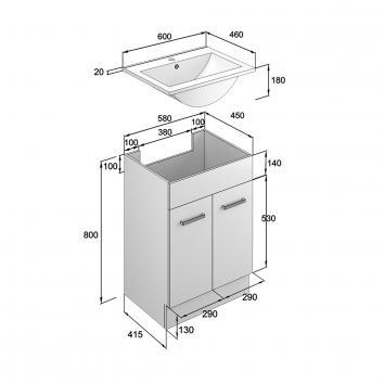 NEKO200000 NV200000 Neko Floor Mounted Vanities Furniture Spec sheet