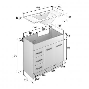 NEKO200060 NV200060 Neko Floor Mounted Vanities Furniture Spec sheet