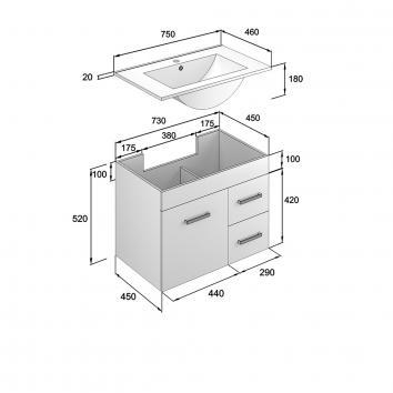 NEKO200110 NV200110 Neko Wall Hung Vanities Furniture Spec sheet