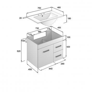 NEKO200115 NV200115 Neko Wall Hung Vanities Furniture Spec sheet