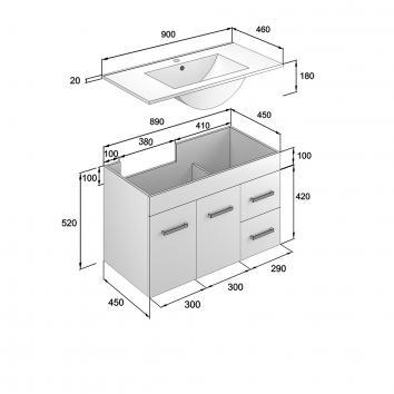 NEKO200140 NV200140 Neko Wall Hung Vanities Furniture Spec sheet