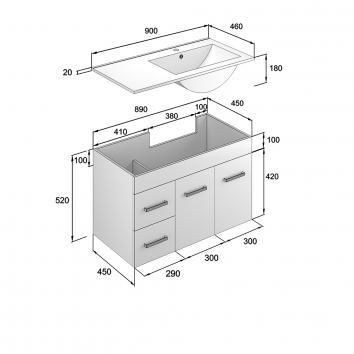 NEKO200150 NV200150 Neko Wall Hung Vanities Furniture Spec sheet