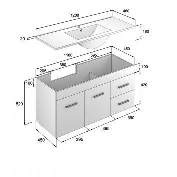 NEKO200170 NV200170 Neko Wall Hung Vanities Furniture Spec sheet