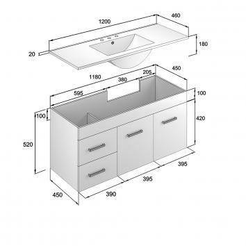 NEKO200185 NV200185 Neko Wall Hung Vanities Furniture Spec sheet