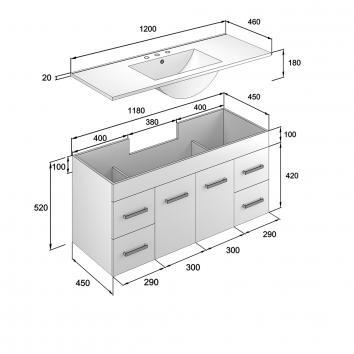 NEKO200195 NV200195 Neko Wall Hung Vanities Furniture Spec sheet