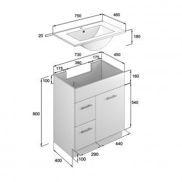 NEKO206020 NV206020 Neko Floor Mounted Vanities Furniture Spec sheet