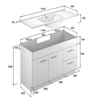 NEKO206050 NV206050 Neko Floor Mounted Vanities Furniture Spec sheet
