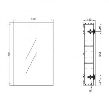 NEKO207500 NA207500 Neko Shaving Mirror Cabinet Furniture Spec sheet