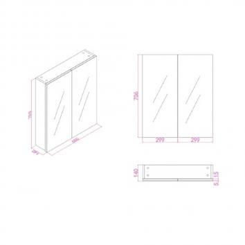 NEKO207505 NV207505 Neko Shaving Mirror Cabinet Furniture Spec sheet