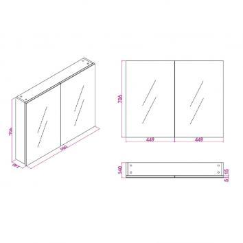 NEKO207515 NA207515 Neko Shaving Mirror Cabinet Furniture Spec sheet