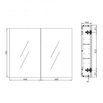 NEKO207516 NV207516 Neko Shaving Mirror Cabinet Furniture Spec sheet