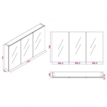 NEKO207521 NV207521 Neko Shaving Mirror Cabinet Furniture Spec sheet