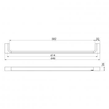 PHOENIX18505 GS804 Phoenix Tapware Single Towel Rail Accessories Spec sheet