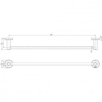 PHOENIX34040 RA804 CHR Phoenix Tapware Single Towel Rail Accessories Spec sheet
