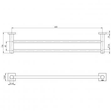 PHOENIX34070 RS813 CHR Phoenix Tapware Double Towel Rail Accessories Spec sheet
