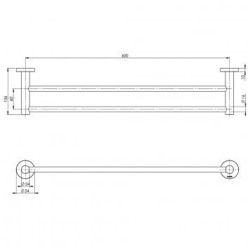 PHOENIX34080 RA813 CHR Phoenix Tapware Double Towel Rail Accessories Spec sheet