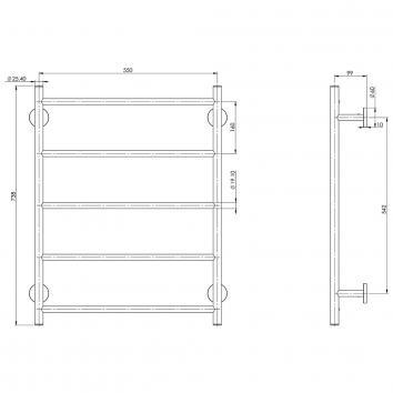 PHOENIX34115 RA870 CHR Phoenix Tapware Towel Ladder Accessories Spec sheet