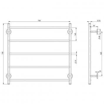 PHOENIX34125 RA871 CHR Phoenix Tapware Towel Ladder Accessories Spec sheet