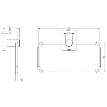 PHOENIX34130 RS893 CHR Phoenix Tapware Hand Towel Ring / Rail Accessories Spec sheet