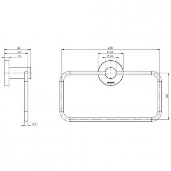 PHOENIX34145 RA893 MB Phoenix Tapware Hand Towel Ring / Rail Accessories Spec sheet
