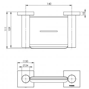 PHOENIX34150 RS895 CHR Phoenix Tapware Soap Holder Accessories Spec sheet