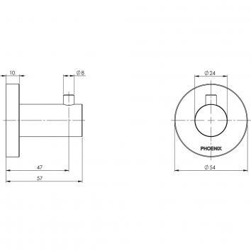 PHOENIX34185 RA897 MB Phoenix Tapware Robe Hook Accessories Spec sheet