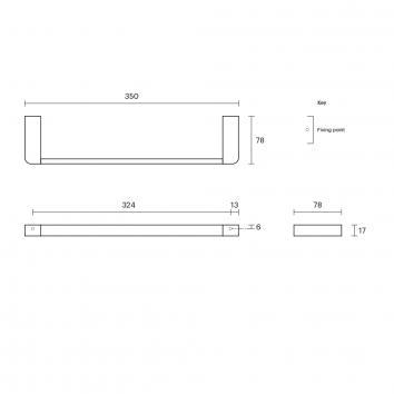 ROGERSEL15018 4355061 Rogerseller Single Towel Rail Accessories Spec sheet