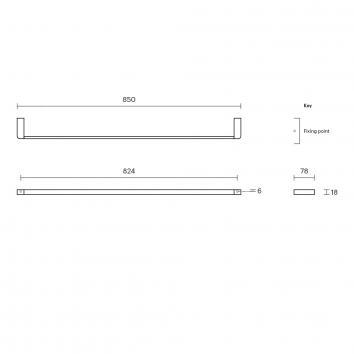 ROGERSEL15034 4355101 Rogerseller Single Towel Rail Accessories Spec sheet