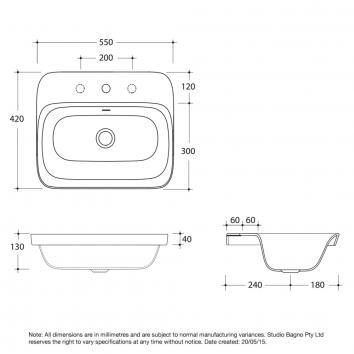 STUDIOBAGNO3025 SOL15/1 Studio Bagno Drop In Basins Basins Spec sheet