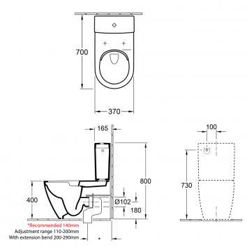 V&B3905 5617R1R1S4B Villeroy & Boch Back to Wall Toilets Spec sheet