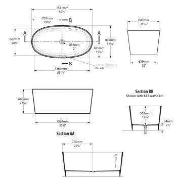 VICTORIA0010 IOS-N-SW Victoria + Albert Freestanding Baths Spec sheet