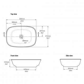 VICTORIA0024/VICTORIA1800 VB-AMT-60 Victoria + Albert Above Counter / Vessel Basins Spec sheet