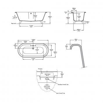 VICTORIA0550 CHE-N-SW+FT-CHE-SW Victoria + Albert Freestanding Baths Spec sheet