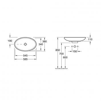 V&B1813 51510001 Villeroy & Boch Above Counter / Vessel Basins Spec sheet